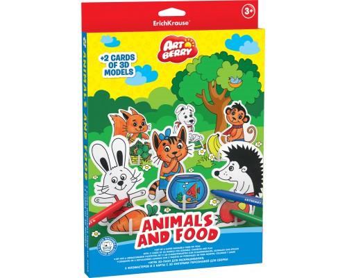 Игровой 3D пазл для раскрашивания Artberry/Animals and food (6 флом+2 карты с фигур д/сборки), разноцветн.