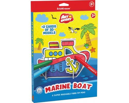 Игровой 3D пазл для раскрашивания Artberry/Marine Boat (6 флом+2 карты с фигур д/сборки), разноцветн.