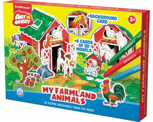 Игровой 3D пазл для раскраш Artberry/My Farmland Animals (10 флом+6 карт с фигур д/сборки+игровое поле), разноцветн.