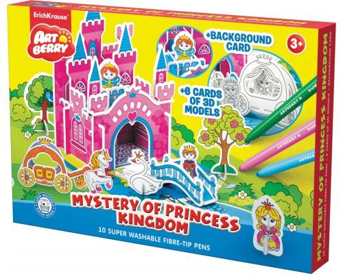 Игровой 3D пазл для раскраш Artberry/Mystery of Princess Kingdom (10 флом+6 карт с фигур д/сборки+игровое поле), разноцветн.