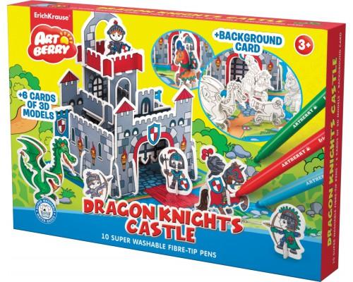 Игровой 3D пазл для раскраш Artberry/Dragon Knights Castle (10 флом+6 карт с фигур д/сборки+игровое поле), разноцветн.