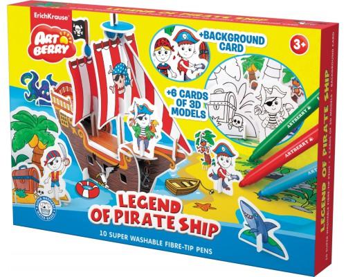 Игровой 3D пазл для раскраш Artberry/Legend of Pirate Ship (10 флом+6 карт с фигур д/сборки+игровое поле), разноцветн.
