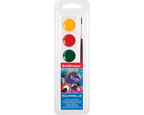 Краски акварельные Erich Krause 6 цветов с кистью, мягкий пластик