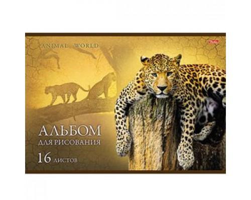 Альбом для рисования 16л. скрепка, обл. картон, HATBER В мире животных