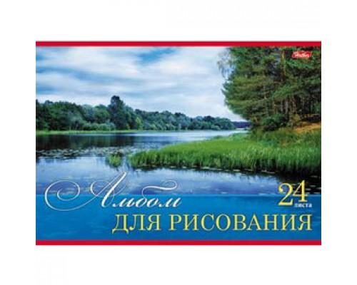 Альбом для рисования 24л. скрепка, обл. картон, HATBER Русские просторы