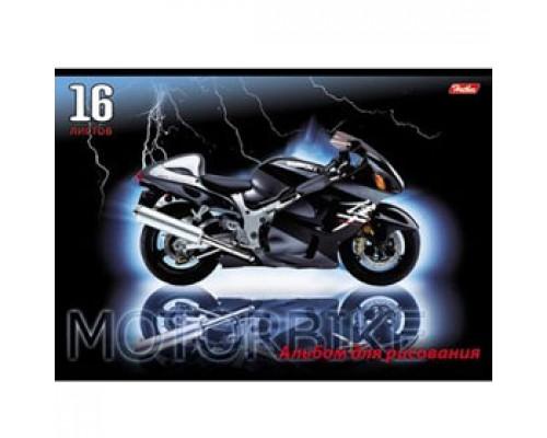 Альбом для рисования 16л. скрепка, обл. картон, HATBER Мотоциклы