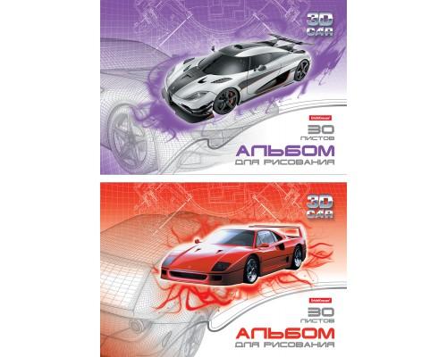 Альбом для рисования А4 30л 3D Car Toys, клеевое скрепление