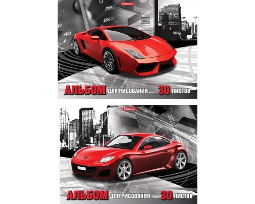 Альбом для рисования А4 30л Red car, клеевое скрепление
