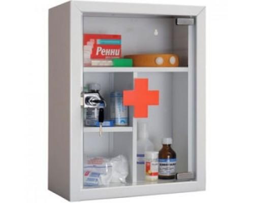 Аптечка ПРАКТИК AMD-39G, 300х160х390, ключевой замок, стекло, белая