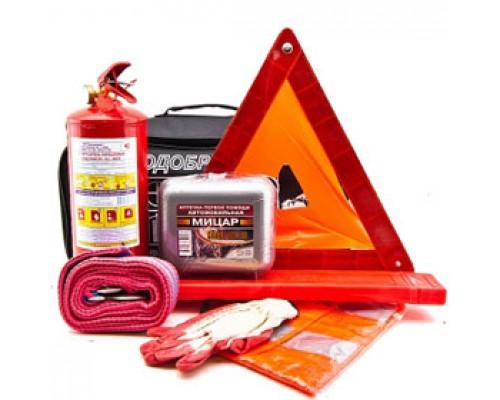 Набор водителя: огнетушитель, аптечка, знак, трос, жилет, перчатки