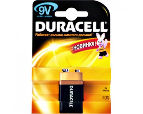 Батарейка 6LR61/F8/крона DURACELL, алкалин..