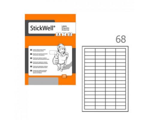 Этикетки самоклеящиеся 48,5х16,9мм, STICKWELL, 68шт., 100л., белый