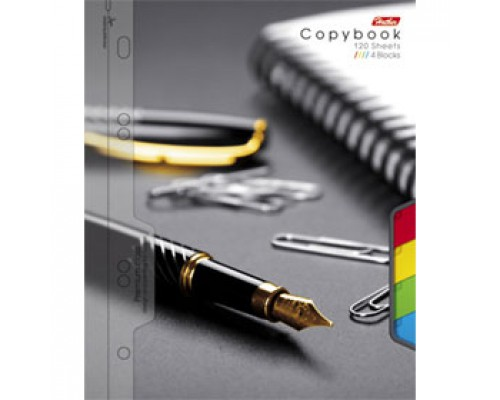 Бизнес-тетрадь А5 120л, клетка, ламинир. картон, разделители, спираль, HATBER ассорти