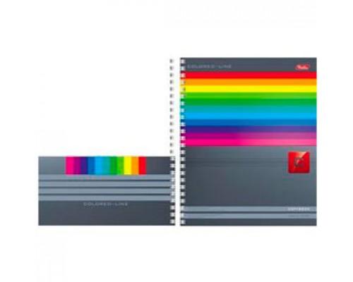 Бизнес-тетрадь А5 100л, клетка, выборочный УФ лак картон, карман, спираль, HATBER Colored Line