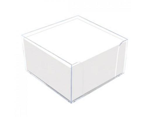 Блок для записей 90х90х50мм, эконом, белый, подставка прозрачная