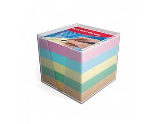 Блок для записей 90х90х90мм 5 цветов, ERICH KRAUSE, подставка прозрачная
