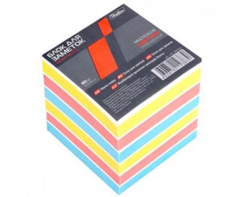 Блок для записей 90х90х90мм проклеенный, HATBER, цветной
