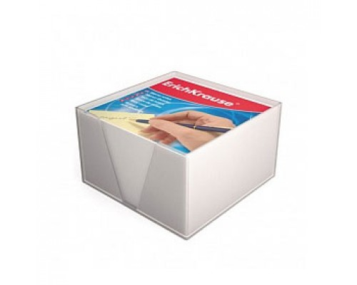 Блок для записей 90х90х45мм, белый, ERICH KRAUSE, подставка прозрачная