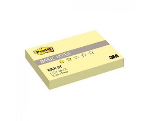 Листки с клейкой полосой 51х76мм 3M Post-it BASIC 656R-BY, 100л, канареечный желтый