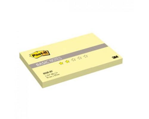 Листки с клейкой полосой 76х127мм 3M Post-it BASIC 655R-BY, 100л, канареечный желтый