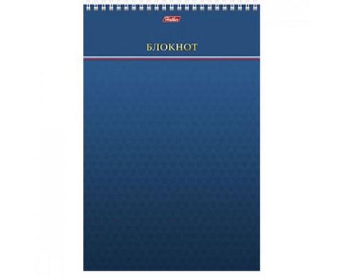 Блокнот А4 80л, клетка, мелован. картон, спираль, жесткая подложка, HATBER синий