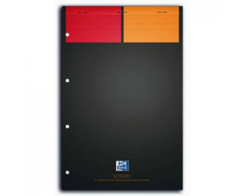Блокнот А4+ 80л, клетка, ламинир. картон, скоба, перфорация, OXFORD International красно/оранжевый/черный