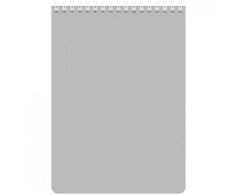 Блокнот А5 60л, клетка, ламинир. картон, для логотипа, спираль, HATBER, серебро