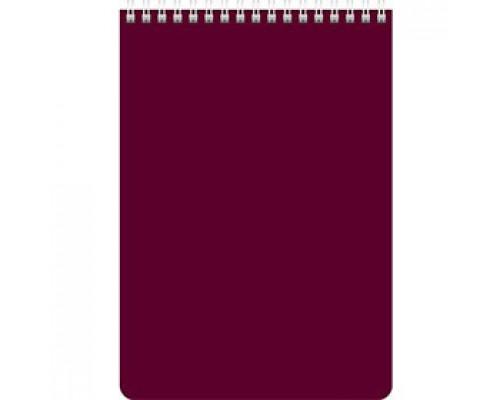 Блокнот А5 60л, клетка, ламинир. картон, для логотипа, спираль, HATBER, бордо
