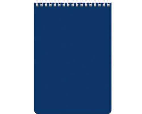 Блокнот А5 60л, клетка, ламинир. картон, для логотипа, спираль, HATBER, синий