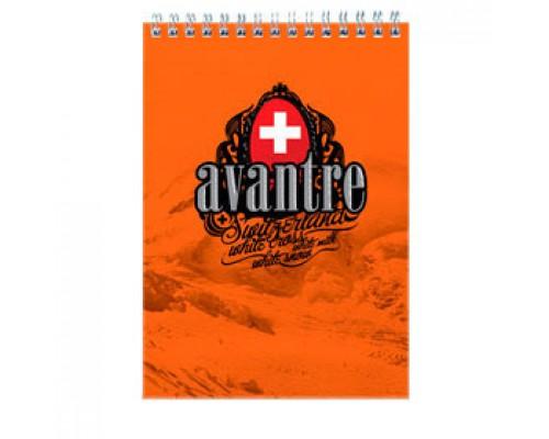 Блокнот А5 60л, клетка, выборочный УФ лак картон, спираль, AVANTRE Royal red, оранжевый