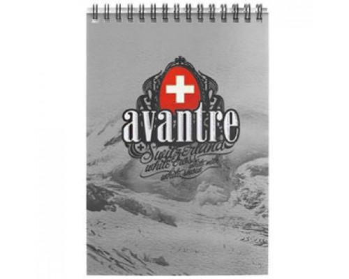 Блокнот А6 60л, клетка, выборочный УФ лак картон, спираль, AVANTRE Royal red, серебро