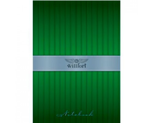 Блокнот А6 80л, без линовки, ламинир. картон, спираль, WILLFORT Plisse, зеленый