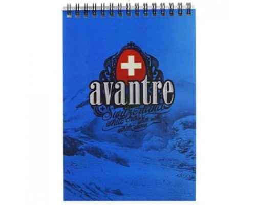 Блокнот А6 60л, клетка, выборочный УФ лак картон, спираль, AVANTRE Royal red, синий