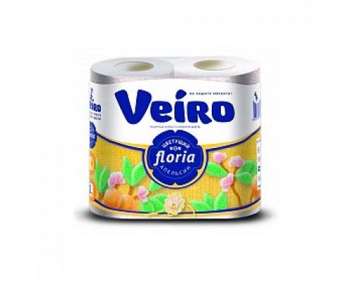 Туалетная бумага VEIRO Floria 2х-сл., 4 рул., апельсин