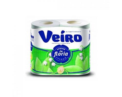 Туалетная бумага VEIRO Floria 2х-сл., 4 рул., ландыш