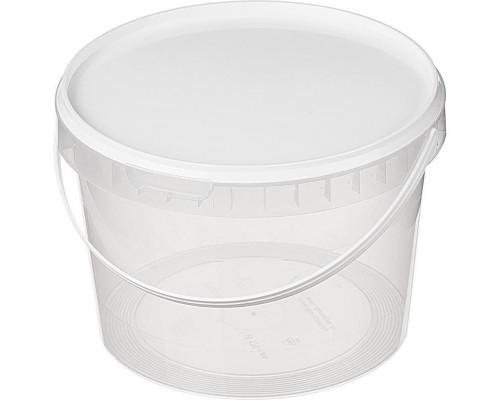 Ведро пластиковое прозрачное 2000 мл диаметр 170 мм высота 122 мм (120 штук в упаковке)