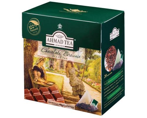 Чай Ahmad Tea Chocolate Brownie черный c шоколадом 20 пакетиков-пирамидок