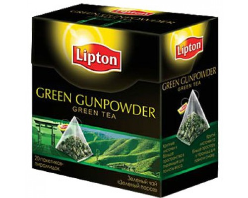 Чай LIPTON Green Gunpowder зеленый, пирамидки, 20пак.