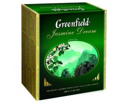 Чай GREENFIELD Jasmine Dream с жасмином зеленый, 100пак.