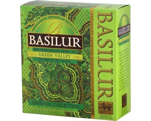 Чай Basilur Green valley зеленый 100 пакетиков