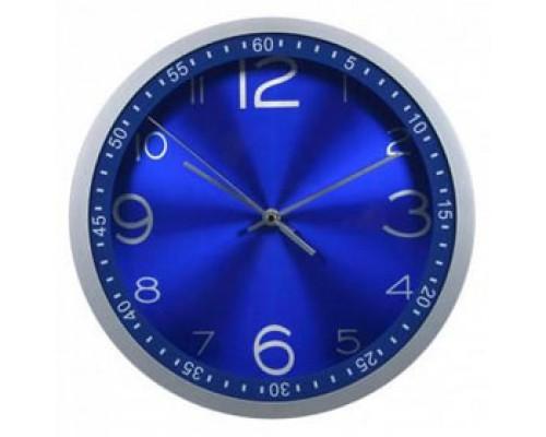 Часы настенные круглые, пластик, циферблат синий, обод синий с минутным циферблатом