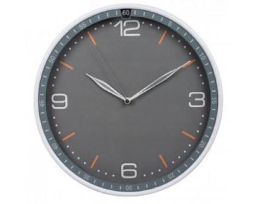 Часы настенные круглые, пластик, циферблат серый, обод серый