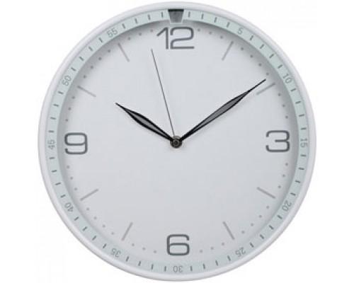 Часы настенные круглые, пластик, циферблат белый, обод белый с минутным циферблатом