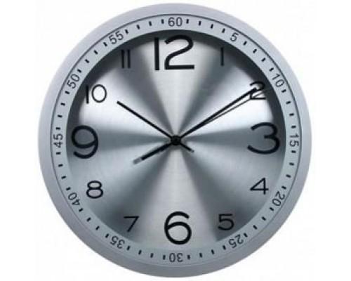 Часы настенные круглые, пластик, циферблат серебро, обод серебро с минутным циферблатом