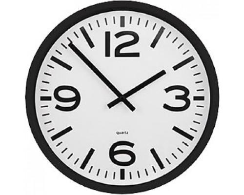 Часы настенные круглые, пластик, циферблат белый, обод черный