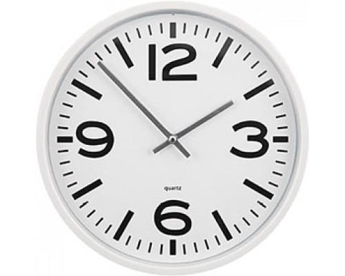 Часы настенные круглые, пластик, циферблат белый, обод белый