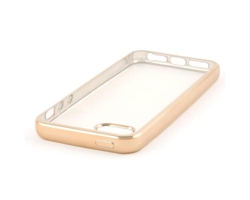 Накладка силикон iBox Blaze для iPhone 5/5S/SE (золотистая рамка)