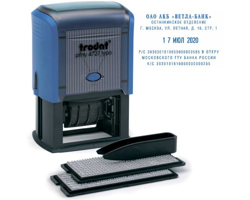 Датер самонаборный TRODAT 4727DB/P3, 6-строчный, 4мм, синий