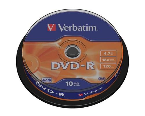 Диск DVD-R VERBATIM Cake Box, 16х, 10шт