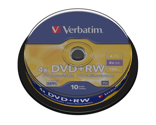 Диск DVD+RW VERBATIM Cake Box, 16х, 10шт